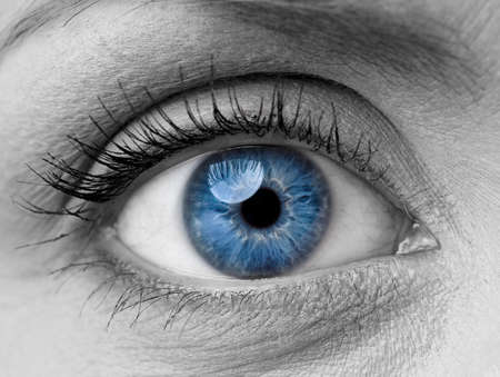 blue grey: Beautiful blue woman single eye close up, black and white Stock Photo