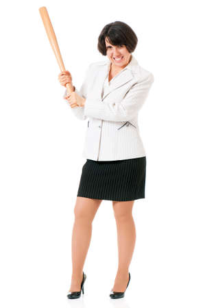hoodlum: Anger business woman in suit with wooden baseball bat, isolated on white background