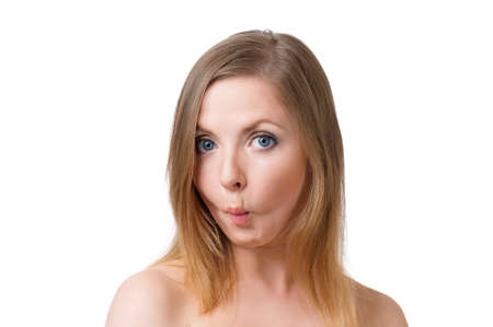 oddball: Closeup on young woman making fish face, isolated on white background