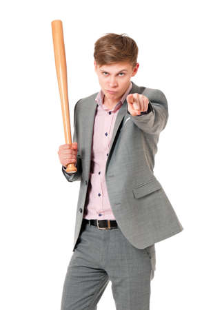 ruffian: Anger man in suit with wooden baseball bat, isolated on white background