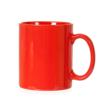 mugged: Single red cup, isolated on white background