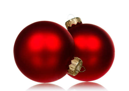 christmas baubles: Big red baubles for christmas firtree on white background Stock Photo