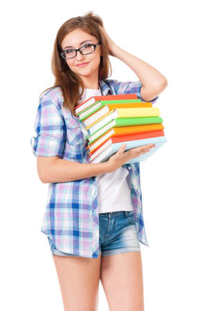 specs: Beautiful student girl with eyeglasses and books, isolated on white background