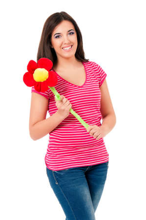 big flower: Girl with big flower, isolated on white background Stock Photo