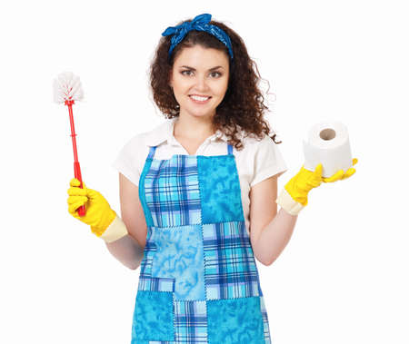 watercloset: Young housewife with yellow gloves, toilet brush and paper, isolated on white background Stock Photo