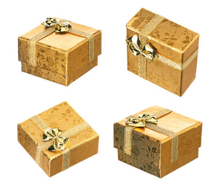 gold gift box: Set of golden gift box with ribbon and bow on white background