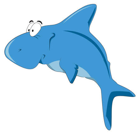 Vector illustration cartoon white shark with simple gradients