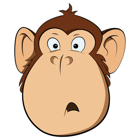 Vector illustration of surprised monkey. Symbol New Year 2016.