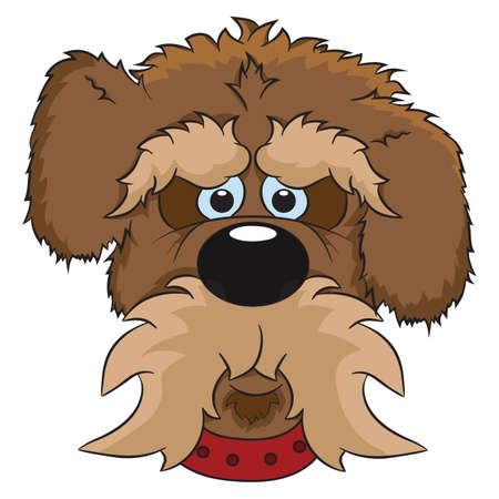 Vector illustration. Portrait of cute cartoon dog.