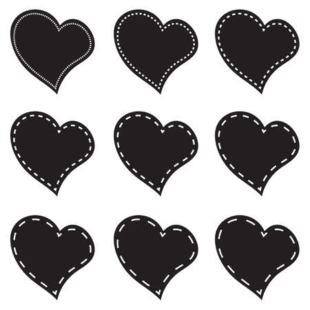Vector illustration of a set red hearts on white