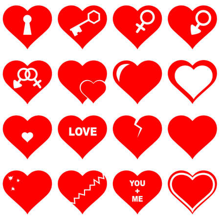 valentine married: Vector illustration of a set red hearts - love concepts Stock Photo