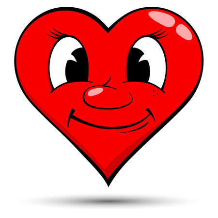 gladness: Vector illustration of a red heart with smile - love concepts Stock Photo