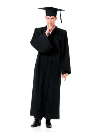 noiseless: Young graduation man, isolated on white background