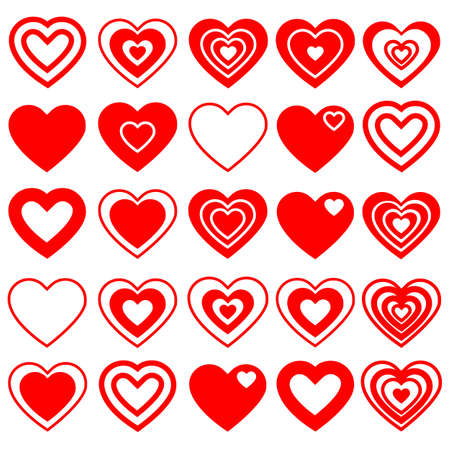 Vector illustration of a set red hearts