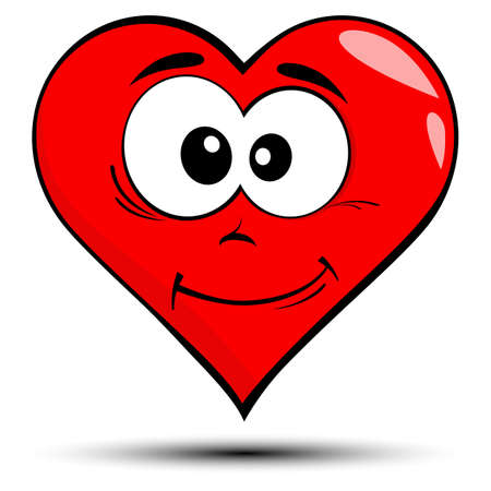 Vector illustration of a red heart with smile - love concepts 일러스트