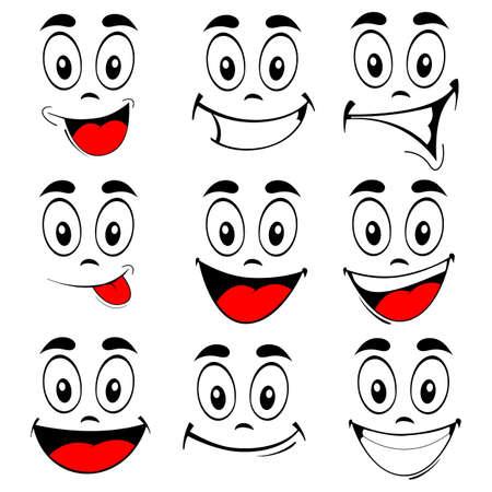Ilustracja wektora zestawu uśmiechnięte twarze kreskówki - szczęśliwe oczy i usta na białym