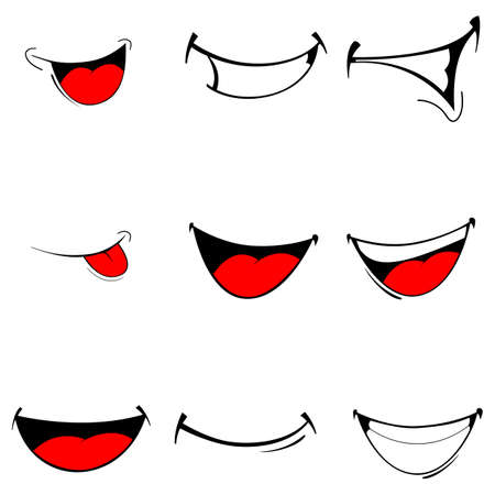 Ilustracja wektora zestawu miecha animowanych - szczęśliwy usta na białym