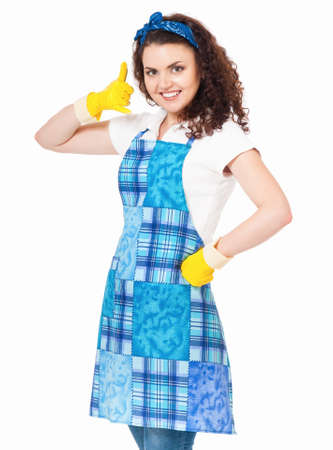 housewife gloves: Young housewife with yellow gloves, isolated on white background