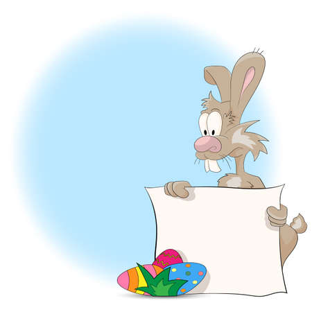 rabit: Vector illustration of a cartoon Easter bunny with Easter Eggs and blank sign for your text