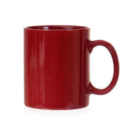 mugged: Red mug empty blank, isolated on white background