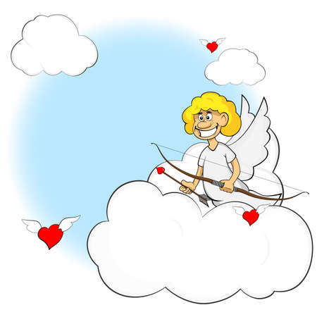 eros: Funny cartoon cupid. Illustration cartoon of cute cupid with bow and arrow. Illustration of a Valentines Day. Stock Photo