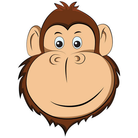 Illustration of happy monkey. Portrait of animal isolated on white background.