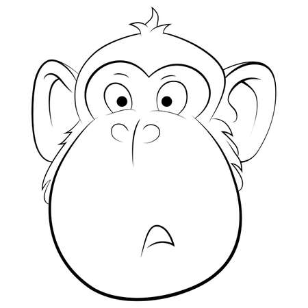 Illustration of surprised monkey. Portrait of animal isolated on white background.