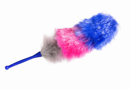 broom handle: Broom for cleaning or soft colorful duster with plastic handle, isolated on white background Stock Photo