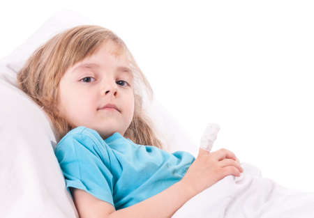 painfully: Little sad girl with a bandaged finger in bed. Portrait of illnes kid looking at camera, resting at home. Stock Photo