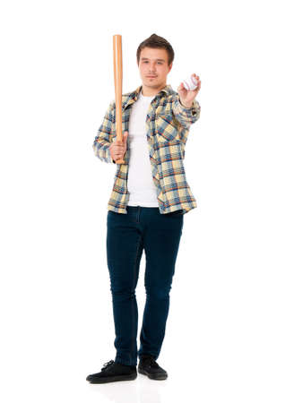 Young man with wooden baseball bat and ball. Guy standing full length portrait, isolated on white background. Stock Photo