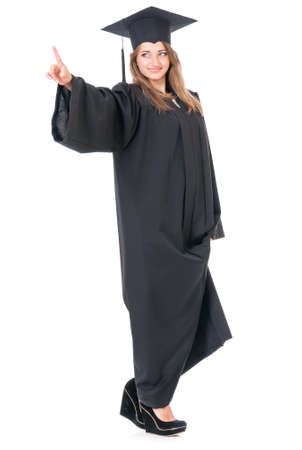 completion: Beautiful graduate girl student in mantle, isolated on white background