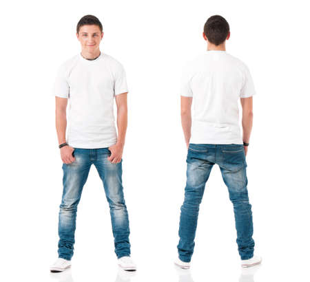 White t-shirt on a young man isolated on white background, front and back. Happy teen boy with polo shirt looking at camera.