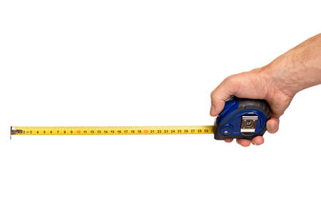 Male Hand with Tape-measure. Human Hand holding Tape measure, Isolated on White Background.