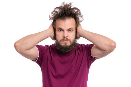 I do not see, do not speak, can not hear anything - portrait of Crazy bearded Man. Guy with funny Haircut isolated on white background. 版權商用圖片