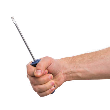 Male Hand with screwdriver. Human Hand holding tool, Isolated on White Background.