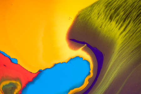 Abstract Bright Colorful Paint. Beautiful Paint Surface - Multicolored. Acrylic texture for background. Top view.