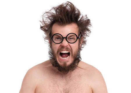 Crazy bearded Angry Man with funny Haircut in Eyeglasses Screaming. Naked guy, isolated on white background.