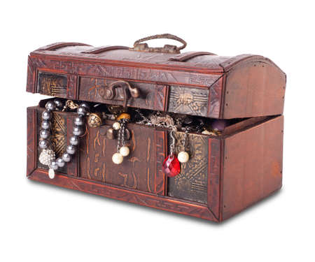 Treasure chest isolated on white background with clipping patch photo