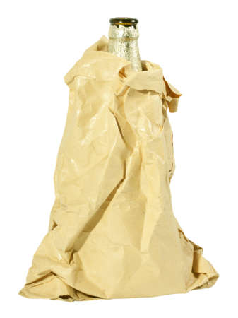beer bottle hidden in a bag isolated on white background photo
