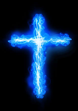 calvary: cross burning in a blue fire Stock Photo