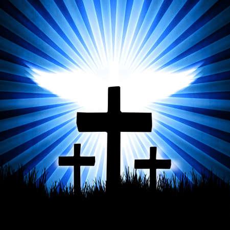 kruzifix: Kreuz auf dem blauen Hintergrund mit Fliege Taube auf dem Rücken