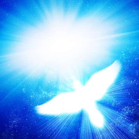 holy symbol: paloma, que brilla intensamente contra los rayos azules