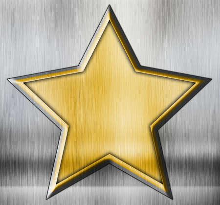 grunge star on a metal background photo