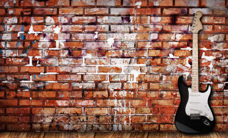 funk: Guitar on grunge background