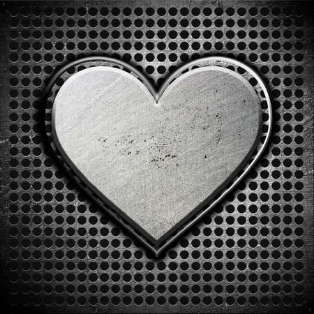 Metal heart on a metal background Stock Photo - 12691371