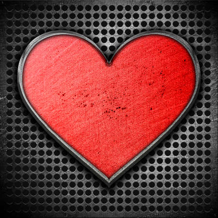 Metal heart on a metal background Stock Photo - 12691395