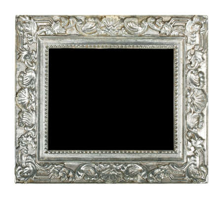 old silver frame isolated on white background photo