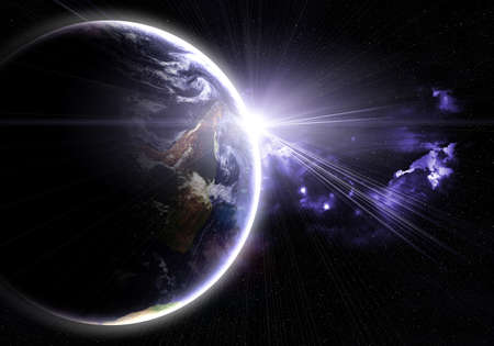 earth moving: blue planet with a flash of sun, abstract background Stock Photo