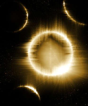 solar eclipse with planets in space photo