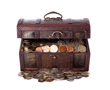 hoard: Wooden chest with coins inside isolated on white background